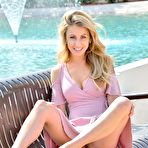 "Second pic of Leah shows you her long legs and wet pussy outside in ""Pretty In Pink"" - Coed Cherry"
