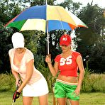 Fourth pic of Jannete, Carol in Busty Lesbo Babes on the Golf Field
