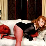 First pic of Mature kinkster Red in red fishnet and sheer pantyhose! - Pantyhose Seduction