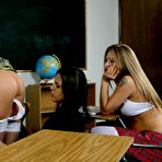 Fourth pic of Teacher Shy Love dildos tiny asshole of college girl in front of her classmates