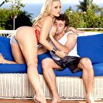 First pic of Blond-haired hottie with a hairy pussy gets licked and dicked outdoors - IamXXX.com