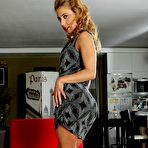 First pic of Blond-haired tease slowly taking off her stylish grey dress for you - IamXXX.com
