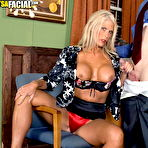 Third pic of Big titted blonde MILF Charley Rose giving head