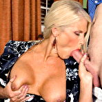 Fourth pic of Big titted blonde MILF Charley Rose giving head