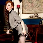 First pic of Redhead Vivi St Claire spreads in black nylons