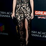 Second pic of Kate Mara showing huge cleavage in black lace high-slit gown at 2017 AMD British Academy Britannia Awards in Beverly Hills