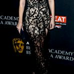 Third pic of Kate Mara showing huge cleavage in black lace high-slit gown at 2017 AMD British Academy Britannia Awards in Beverly Hills