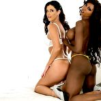 First pic of Diamond Jackson and India Summer are two smoldering hot babes who loves interracial lesbian stuff