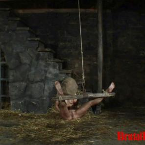 Blonde Romina gets thrown in a dungeon and forced to endure bdsm gangbangs #215696
