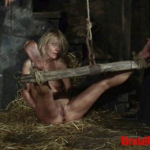 Blonde Romina gets thrown in a dungeon and forced to endure bdsm gangbangs #215698