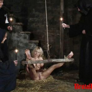 Blonde Romina gets thrown in a dungeon and forced to endure bdsm gangbangs #215699